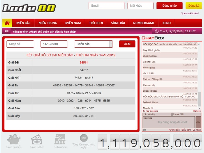 Giao diện trang lô đề trực tuyến tại nhà cái Lode88