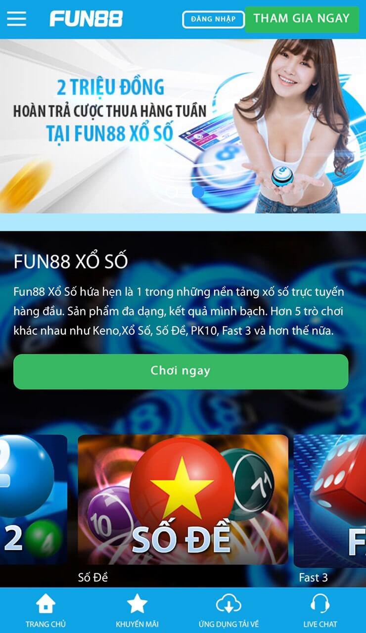 Giao diện trang đánh đề Fun88
